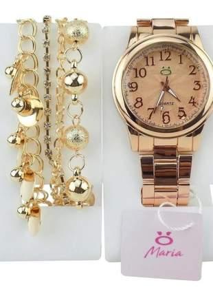 Relógio feminino pulseira aço analógico confortável elegante + pulseira estilo pandora
