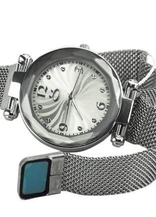 Relógio feminino pulseira magnética analógico confortável elegante