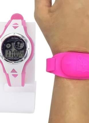 Relógio feminino pulseira silicone digital funcional confortável elegante +pulseira alcool