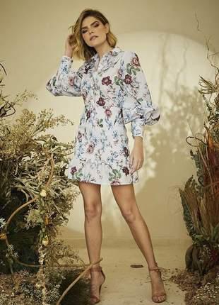 Mini vestido camisa lastex tricoline floral