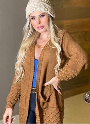 Casaco tricot moda inverno