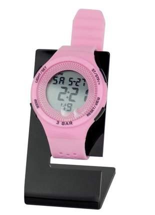 Relógio feminino pulseira silicone digital funcional confortável ajustável prova d'água