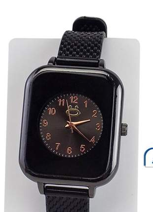 Relógio feminino pulseira silicone analógico confortável elegante ajustável +colar/brinco