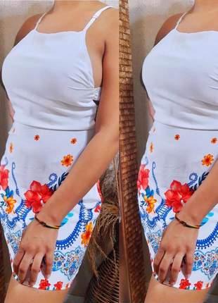 Vestido curto estampado alça regulável com detalhe lateral