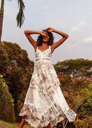 Vestido longo floral offwhite colors rendas