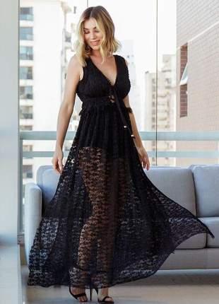Vestido longo plissado com renda preto