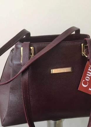 Bolsa em couro legítimo de alça ombro e tiracolo regulável