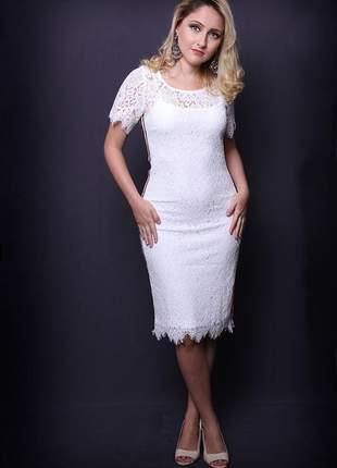 Vestido midi de renda branco fita