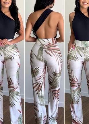 Calça em viscolycra estilo pantalona feminina