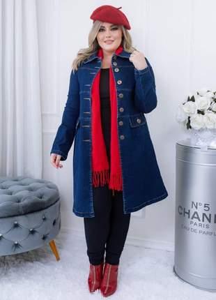 Sobretudo jeans feminino azul escuro jaqueta jeans