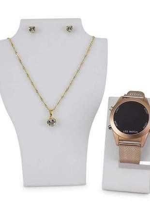 Relógio feminino led funcional lindo elegante pulseira silicone acompanha colar e brincos