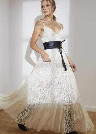 Vestido longo de renda arabesco com cinto offwhite