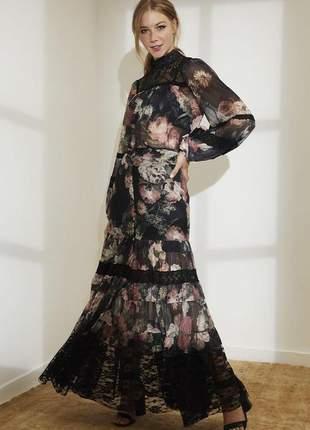 Saia longa de tule floral aquarela preto
