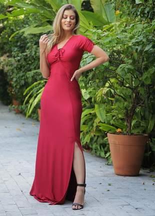 Vestido longo yunica fenda vermelho carmim