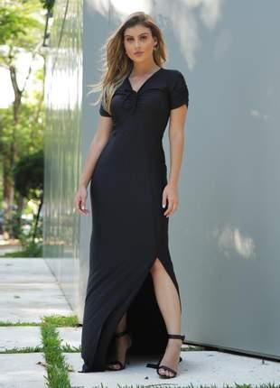 Vestido longo yunica fenda preto