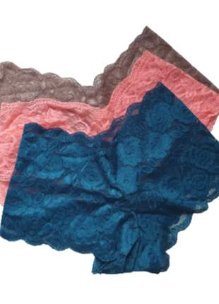 Kit 3 calcinha renda calesson boxer lingerie tam. unico ate 42