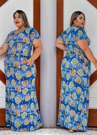 Vestido plus size estampado longo com ajuste na cintura florido viscolycra