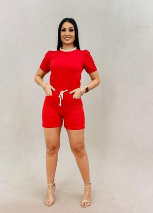 Conjunto moletinho, blusa princesinha e bermuda 4 bolsos, tamanho p, cor: vermelho