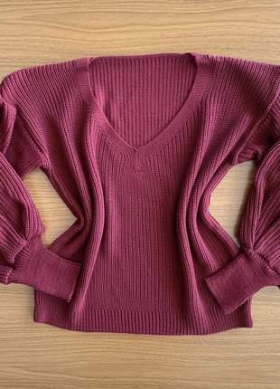Blusa feminina tricot manga longa bufante punho balão over