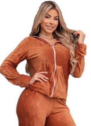 Conjunto feminino veludo blusa capuz e calça cintura alta cfv-301