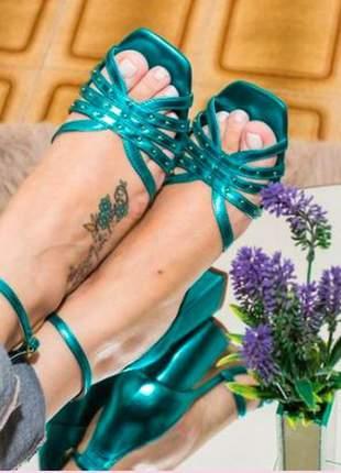 Sandália salto bloco safira azul