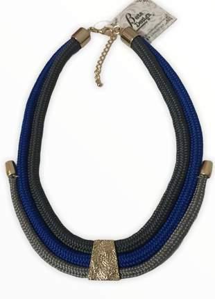 Colar de corda azul e cinza 💙