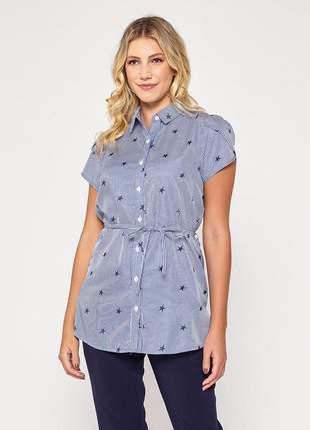Camisa manga curta estampada feminina estrela azul - 06073