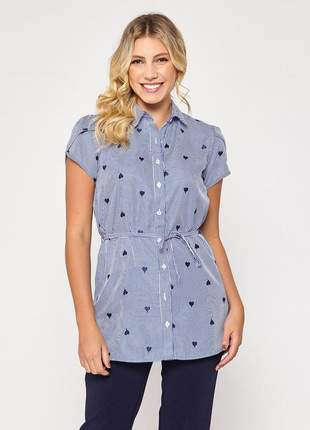 Camisa manga curta estampada feminina coração azul - 06073