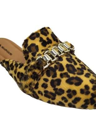 Mule sapatilha feminina numeração especial tamanco rasteirinha onça pelo confortável