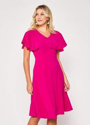Vestido manga ampla curta decote com botões pink - 06084