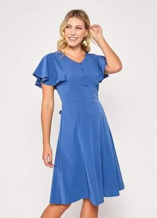 Vestido manga ampla curta decote com botões azul - 06084