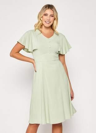 Vestido manga ampla curta decote com botões verde - 06084