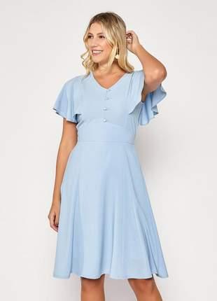 Vestido manga ampla curta decote com botões azul céu - 06084