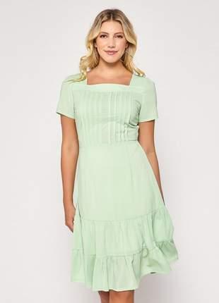 Vestido de manguinha liso barra com camadas verde - 06088