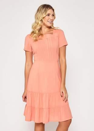 Vestido de manguinha liso barra com camadas salmão - 06088
