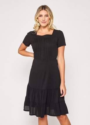 Vestido de manguinha liso barra com camadas preto - 06088