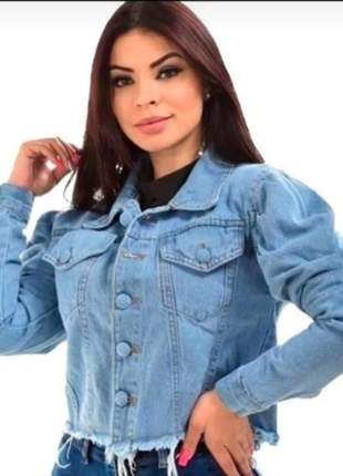 Jaquetinha manga bufante clara jeans feminina da moda manga princesa, cor azul claro
