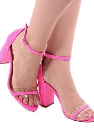Sandália zhaceci bloco pink neon