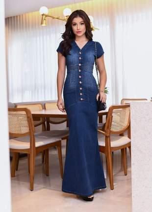 Vestido feminino longo jeans