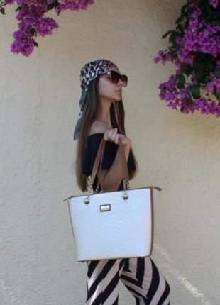 Bolsa grande para todas ocasiões - estilo elegante casual, fino acabamento, cor marfim.