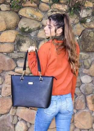 Bolsa grande para todas ocasiões - estilo elegante casual, fino acabamento, cor preto.