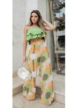 Calça de ziper estampada lançamento exclusivo moda feminina 2021