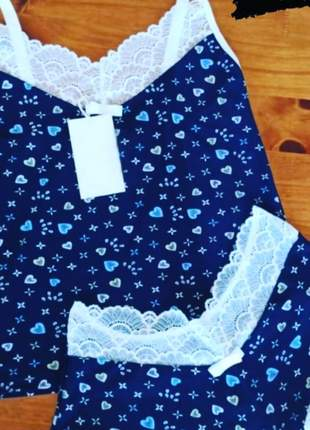 Baby doll fluity azul com renda