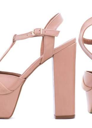 Sandália feminina salto alto grosso rosa festas noivas