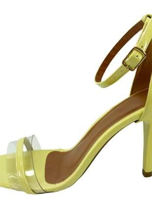 Sandália zhaceci salto alto transparência verde pistache