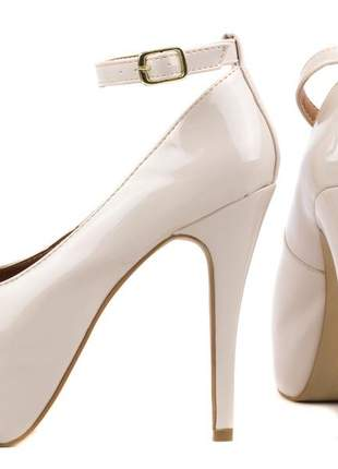 Sapato feminino salto alto fino nude festas noivas casamento meia pata