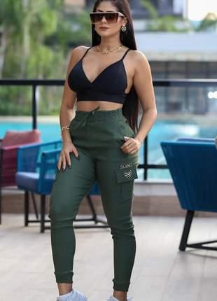 Calça jogger bengaline feminina cintura alta