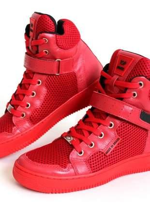 Tênis sneaker vermelho cano alto couro legitimo super confortável e luxuoso