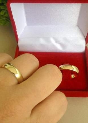 Par de aliança 5mm banhada a ouro