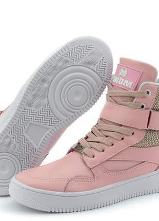Sneakers tênis botinha cano alto lirom fitness treino academia em couro legitimo